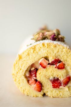 Strawberry and Rose Whipped Roulade