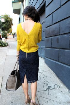Wearing a sweater backwards - not sure I could pull this off, but I love the concept!