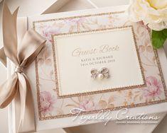 Floral Glitter Wedding Guest Book #wedding #weddingguestbook #guestbook #floralwedding #glitterwedding #weddingideas #guestbookideas