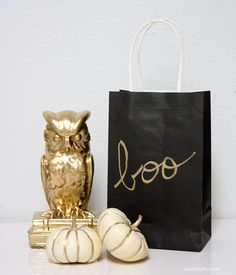 A Bubbly Life: DIY Gold Halloween Treat Bags