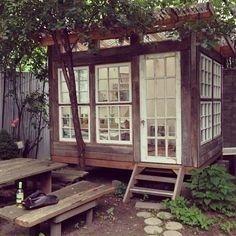Backyard studio - check out all those gorgeous windows!