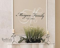 Vinyl wall decal monogram family name with established date