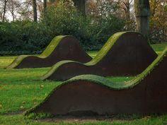 Grass mounds make Sun loungers