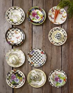 Create fun place settings by mixing your favorite dinnerware patterns together. Just for thought pallet & MacKenzie-Childs