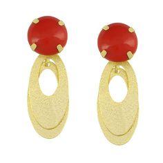 Brinco Pedra Vermelha  de Resina  Folheado a Ouro    Com nossos produtos Diva e sempre vc , venhaaa e confira mais de nossa belas peças   Fique Divaaaaaaaaaaaaaa