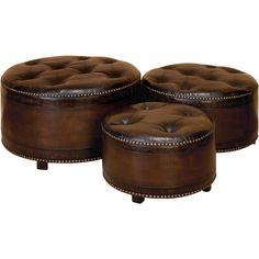 Bring stately appeal to your living room or den with this sophisticated set of ottomans. Showcasing luxe button tufting and shimmering nailhead trim, these h...