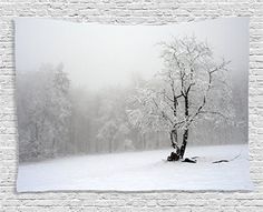 Farm House Decor Tapestry by , Winter Landscape Picture with A Tree in Snowy Field and White Wall Clocks, White Wall Decor, White Home Decor, Wall Art Decor, Tree Tapestry, Tapestry Wall Hanging, White Canvas Art, Canvas Wall Art, Foggy Forest