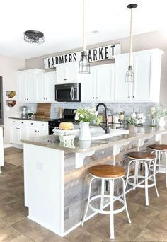 Farmhouse Kitchen Makeover Reveal A dark and boring builder grade kitchen gets a budget-friendly makeover with modern farmhouse style using doable DIY projects.In the Dark In the Dark or in the dark may refer to: Decorating Above Kitchen Cabinets, Farmhouse Kitchen Cabinets, Farmhouse Style Kitchen, Modern Farmhouse Kitchens, Kitchen Redo, Rustic Kitchen, New Kitchen, Home Kitchens, Kitchen Dining