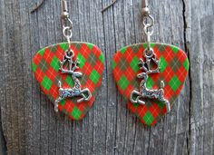 Reindeer Charm Guitar Pick Earrings - Pick Your Pattern by ItsYourPick on Etsy