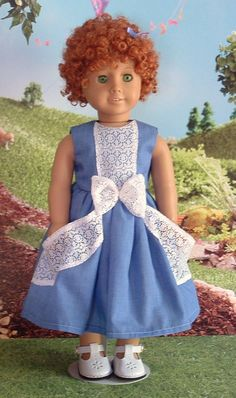 Blue Chambray and Lace for American Girl by MyGirlClothingCo