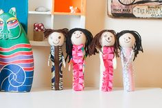 Paper Tube People, fun puppets for kids to make!