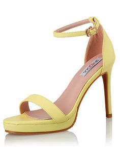 #VIPme Yellow Micro Fiber Open Toe Ankle Strap Sandals ❤️ Get more outfit ideas and style inspiration from fashion designers at VIPme.com.