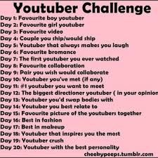 """1)Markiplier 2)Mamrie Hart 3)""""A Day In The Park""""  4)Septiplier 5)Markiplier 6)Dan and Phil 7)Wassabi Productions 8)Alx James and GoddamnZo 9)Nerdy Nummies and Tyler Oakley 10) None :( 11)Markiplier 12)Danisnotonfire 13)Zoella 14)Danisnotonfire 15)The giant selfie with a bunch of YTers that Tyler oakley took 16)Zoella 17)Jenna Marbles 18)Markiplier 19)too many to count 20)Tyler Oakley"""