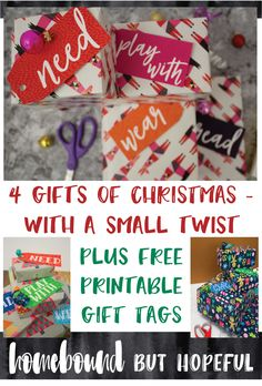 Do you have a system for keeping holiday gift shopping under control? Check out the small twist we made to the popular '4 gifts' approach, and grab your free printable gift tags as well!