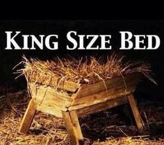 King Size bed. Powerful image. Jesus. Christmas. Manger. Nativity.