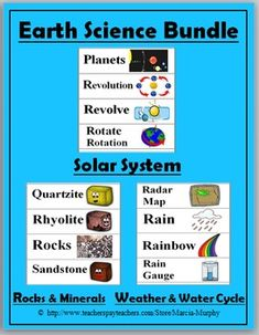 Earth Science Word Wall Cards (Solar System, Rocks & Minerals, Weather & Water Cycle)