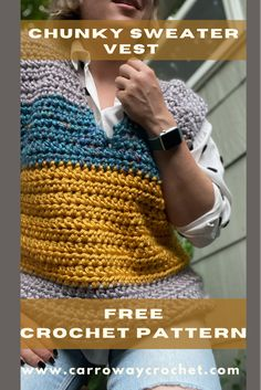Shorts Crochet, Crochet Vest Pattern, Crochet Sweaters, Crochet Clothes, Crochet Stitches, Crochet Blogs, Crochet Videos, Crochet Projects, Free Crochet Bag