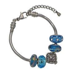 "Rosemarie Collections Women's 5 Bead Set Stainless Steel Charm Bracelet ""Celtic Cross Blue"""