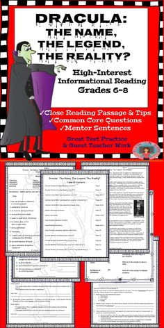 Close reading that's high-interest for grades 6-8!  Perfect for test preparation and practicing close reading strategies (tips and annotation marks included).  Common Core questions are exactly what you'll need to sneak in test prep throughout the year. Teach mentor sentences with differentiated mentor sentence worksheets.  Great for when you need a guest teacher.  Directions and tips are part of this 21-page unit!