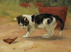 An Easy Target |oil painting of kitten and butterfly, 19th century | John Henry Dolph