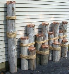 nautical decor | Mooring dolphins or dock pilings for nautical decor i think we could make this with some logs and some rope and whitewash the logs to look like driftwood.                                                                                                                                                                                 More
