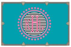 Yeti Decal/ Camp Trunk Decals/ Vinyl Sticker/ Striped Black White Pink Circle Monogram/Monogram Decal by RusticGraceCo on Etsy