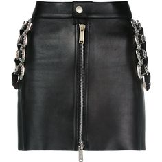 Dsquared2 mini skirt with belt embellishments ($1,790) ❤ liked on Polyvore featuring skirts, mini skirts, black, high-waisted skirt, high waisted leather skirt, leather skirt, zip front leather skirt and fitted mini skirt