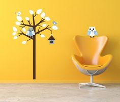 Leafy Tree with Blue and White Owls, Birds and Bird House Pigmented Polyvinyl Wall Sticker