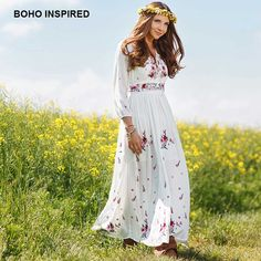 BOHO INSPIRED women dress floral embroidery V-neck lace up long sleeve white long maxi dresses bohemian chic vestidos 2018