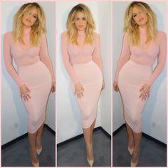 skirt khloe kardashian pink bodysuit