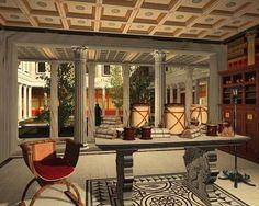 Ricostruzione virtuale di uno degli ambienti della Villa dei Papiri di Ercolano