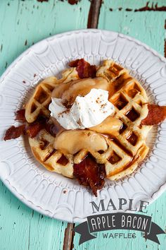 Maple-Bacon-Apple-Waffles. Includes a recipe for homemade maple syrup.