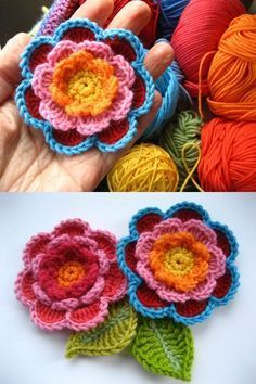 Lucy's Triple Layer Flower with leaves. Excellent step-by-step instructions with tons of photos. . . . . ღTrish W ~ http://www.pinterest.com/trishw/ . . . . #crochet #embellishment #applique