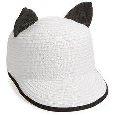 Helene Berman 'Contrast Cat' Baseball Cap (485 MYR) ❤ liked on Polyvore featuring accessories, hats, white, cat baseball hat, brimmed hat, white ball cap, cat ear baseball cap and cat ear baseball hat