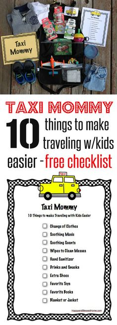 """Cute and Fun! FREE Checklist for 10 Things to make Traveling with Kids Easier from a """"Taxi Mommy"""" - fun parenting tips and homemaking advice for moms! #LoveAmericanHome ad"""