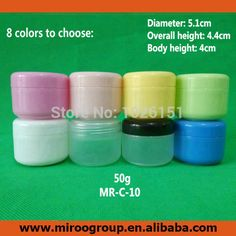 Free Ship 40PCS 50ml 50g PP white colored face cream jars, plastic empty cosmetic containers, 50 ml cosmetic sample containers
