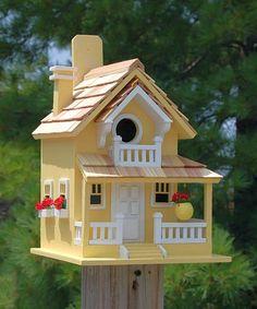 Home Bazaar Backyard Bird Cottage White, Decorative Bird Houses at Songbird Garden