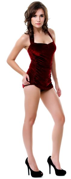 Vintage Inspired Swimsuit 50's Style Burgundy Velvet One Piece Swimsuit - Unique Vintage - Cocktail, Pinup, Holiday & Prom Dresses.