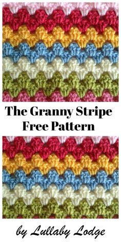 The Granny Stripe - Crochet Tutorial - Learn how to crochet the Granny Stripe stitch, in this easy tutorial. Suitable for beginners, use - Crochet Afghans, Point Granny Au Crochet, Granny Stripe Blanket, Granny Square Crochet Pattern, Crochet Stitches Patterns, Baby Blanket Crochet, Stitch Patterns, Knit Crochet, Knitting Stitches