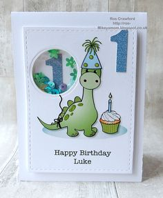 Hello everyone. It's a beautiful Spring day here in Liverpool - Seeing the sun makes everyone feel happier and even the cats have ventu. Baby Birthday Card, Baby Boy First Birthday, Birthday Cards For Boys, Bday Cards, Handmade Birthday Cards, Happy Birthday Cards, Birthday Wishes, Cumpleaños Diy, Dinosaur Cards