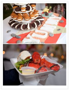 cool idea instead of wedding cake doing woopie pies, for that traditional maine feel ;)