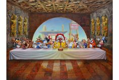 Consumer Culture Expressed Through 10 Contemporary Art Pieces Art Pop, Arte Lowbrow, Consumer Culture, Mickey Mouse, Scary Art, Last Supper, Museum Of Modern Art, Street Artists, Graffiti Artists