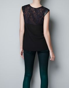 TWO TONE LACE T-SHIRT - T-shirts - Woman - ZARA United States