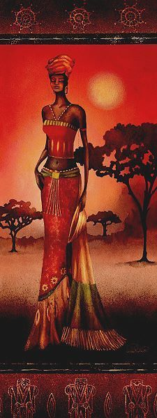 Nicola Rabbett: Masai Lady at Sunset Keilrahmen-Bi African Artwork, African Paintings, Afrique Art, African Theme, Black Artwork, African American Art, African Women, Black Women Art, African Culture