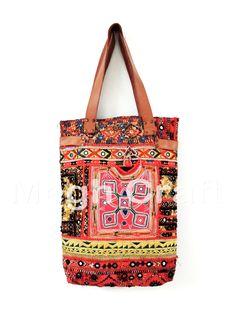 8fec119a21 Designer Vintage Boho hippie gypsy Embroidered mirror work Leather tote  handbag Fringe Handbags