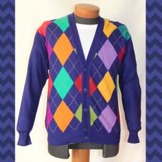 4c5ce5c6c0f Men s Vintage United Colors of Benetton Argyle Cardigan