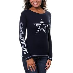 b2e51e456 Dallas Cowboys Womens Gameday Thermal Long Sleeve T-Shirt - Navy Blue