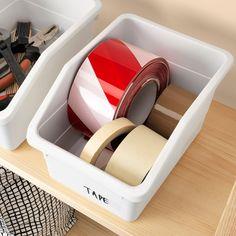 SOCKERBIT Box, white - IKEA Storage Boxes With Lids, Wooden Storage Boxes, Small Storage, Storage Baskets, Storage Containers, Storage Chest, Desk Paper Organizer, Paper Organization, Organizing