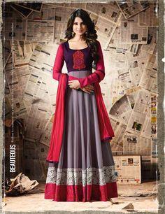 Jennifer Winget Red Silk & Santoon Floor Length Anarkali Suit Fabric – Top : Silk,Bottom- Santoon and Dupatta- Chiffon, Work-Embroidered