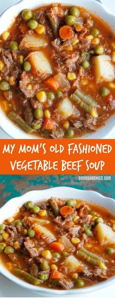My Mom's Old Fashioned Vegetable Beef Soup - an easy dinner recipe that can be made in the slow cooker! An all-time favorite comfort food recipes. It's a homemade vegetable beef soup that's quick and easy! comfort food Vegetable Recipes For Kids Crock Pot Recipes, Beef Soup Recipes, Slow Cooker Recipes, Cooking Recipes, Beef Soup Crockpot, Recipes Dinner, Beef Veggie Soup, Healthy Recipes, Food Dinners